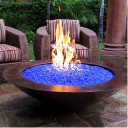 blue media fire pit